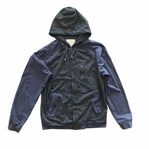 Chor Navy Grey Hoody Sweater Sweatshirt Button Up